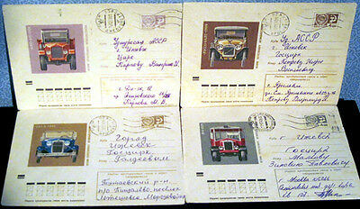 1973 Four Soviet Letter covers HISTORY OF THE DOMESTIC AUTOMOBILE CONSTRUCTION