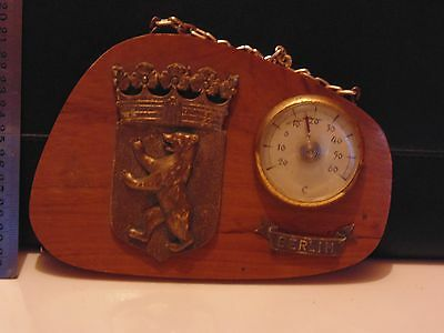 1963 Vintage Berlin Wood Thermometer with Coat of Arms