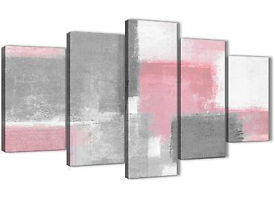 5 Set Blush Pink Grey Painting Abstract Dining Room Canvas Art - 5378 - 160cm