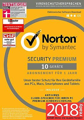 NORTON Security 2018 10 Geräte 10PC Mac Android iOS Internet Security DE EU 2017