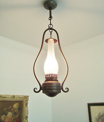 Wrought Iron Chandelier Glass Shade Farmhouse Cottage Style Vintage French