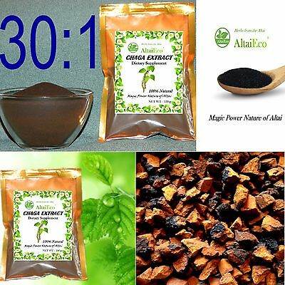 100% Extract Powder Siberian  Chaga  30:1  50g - 500g.Certified