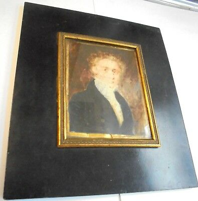 Antique Georgian picture frame. Hand painted portraite on natural substance.