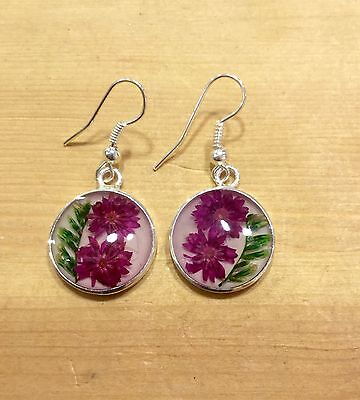 EARRINGS From Mexico Sterling Silver Plated Pressed Flowers Round Floral Design