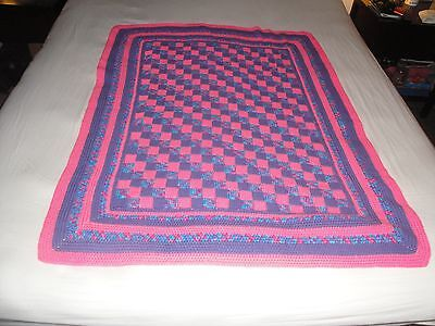 (1444) Baby child Purple and pink HANDMADE checker blanket CROCHET AFGHAN throw