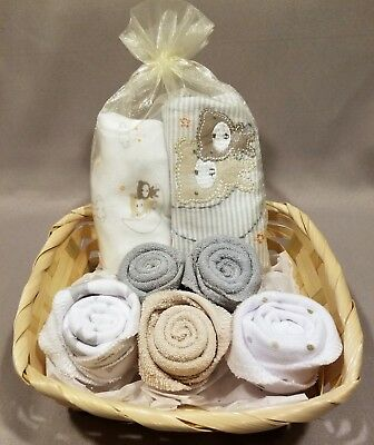 Baby Gift Basket Newborn Onesies Washcloths Rose Buds Shower Gift Unisex