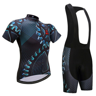 Men's Cycling Jersey and (Bib) Shorts Set Padded Bike Clothing Kit Gear S-5XL