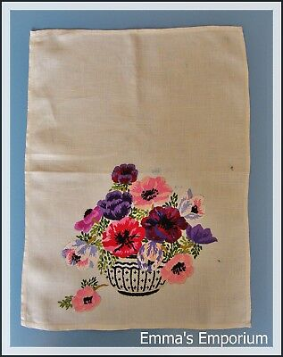 Beautiful Vintage Hand Embroidered Floral Tapestry/Linen/Sampler