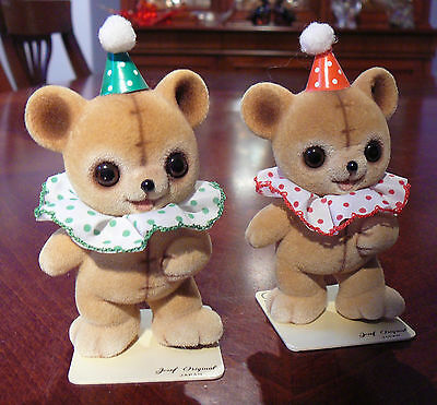 2 Josef Originals Fuzzy Wazzy Birthday Or Circus Flocked Bears Japan George Good