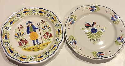 Pair Of Quimper France Plates 10""