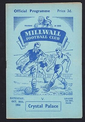 Football Programme Millwall v Crystal Palace Division 3 South 30 October 1954