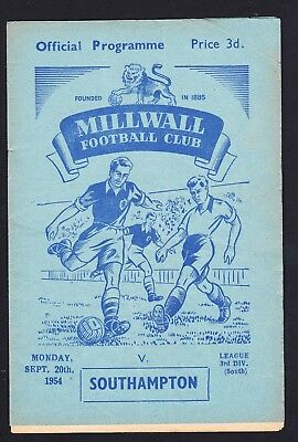 Football Programme Millwall v Southampton Division 3 South 20 September 1954