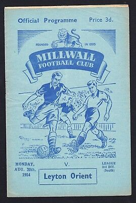 Football Programme Millwall v Leyton Orient Division 3 South 30 August 1954