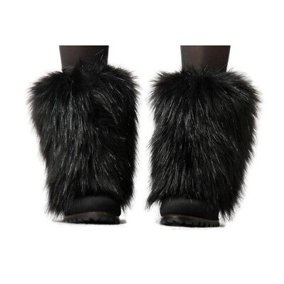 Women Warm Boot Cuff Fluffy Furry Faux Fur Leg Warmers Boot Toppers