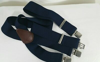 Carhartt Suspenders Heavy Duty Industrial Metal Clips Navy Blue Preowned