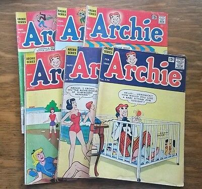 ARCHIE COMICS #134,140,141,151,157,159 (Lot of 6) 12-cent cover 1963-1965 n3002