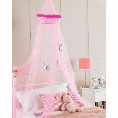 Childrens Girls Bed Canopy Mosquito Fly Net 30x230cm - Pink Faux Fur