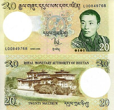 BHUTAN 20 Ngultrum Banknote World Paper Money Pick p30a 2006 Dzong Palace & King