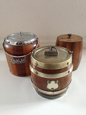 Lead Lined Tobacco Jar From Early 1900's And 2 Biscuit Barrels
