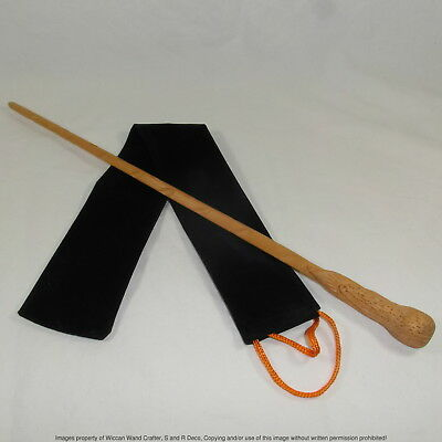 "16"" Burrow Hand Carved Mahogany Wood Magic Wand Wizard Witch Wicca w/ Velvet Bag"