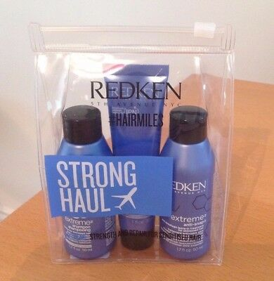 REDKEN Strong Haul Trio Travel Kit ~ Extreme Shampoo, Conditioner, Treatment