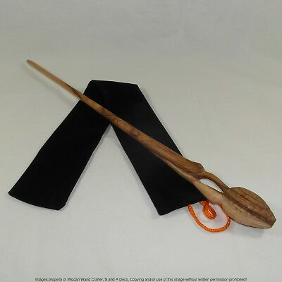 "16"" Minister Shacklebolt Hand Carved Mahogany Wood Magic Wand Wizard w/ Free Bag"