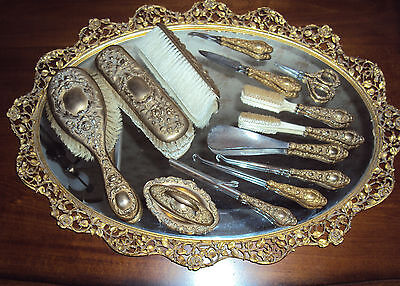 Brass Repousse - Gold Tone - Antique Victorian 14 Pc Vanity Set Marked Essex