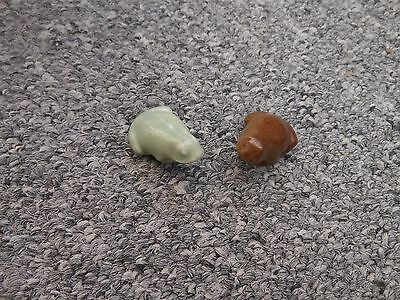 Two Branksome china pottery tiny frogs green & brown