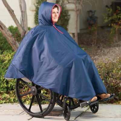 Winter Waterproof Zip Up Wheelchair Poncho Navy Blue