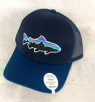 Patagonia FITZ ROY TROUT Trucker Hat SNAPBACK Cap AUTHENTIC 38008 Navy BLUE New