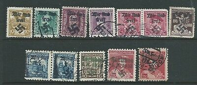 Germany Czechoslovakia Forged Third Reich Overprints Interesting Used
