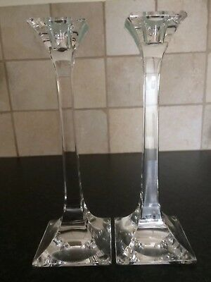 """Tiffany & Co Crystal Tall Square Candle Sticks 8"""" (x2) """"new condition"""""""