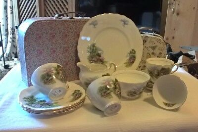 Royal Vale Vintage China Tea Set Country Cottage Scene - Very Good Condition