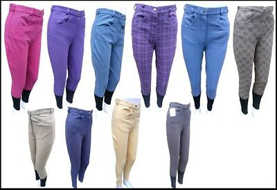 New Quality Ladies/Womens Horse Riding Jodhpurs Plain, Two Tone or Checked Sizes