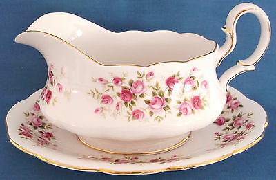 Vintage Queen Anne Cascade Roses Ditsy Pink China Gilded Gravy Boat