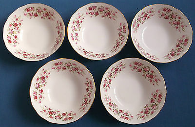 Five Vintage Queen Anne Ditsy Pink Cascade Roses China Bowls Gilded Tableware