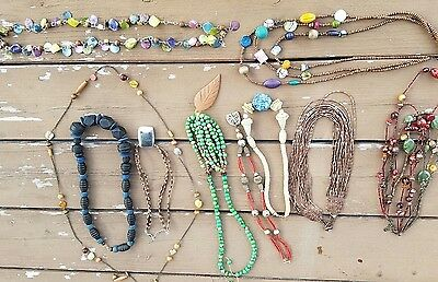 Ladies BOHO Festival  mixed 10 Lot Necklace Beaded Pendants Lots colors Jewelry