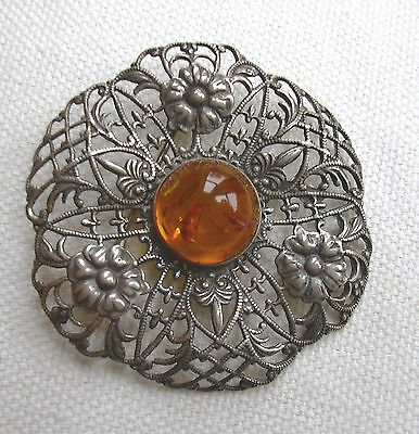 Antique Style Silver Filigree  Brooch /  Pin Honey  Amber stamped 925 on back
