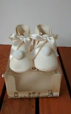 Vintage Pom Pom Ribbon Bow Baby Shoes For Infant or Doll