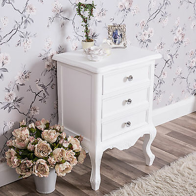 White Bedside Table Chest Shabby Bedroom Chic Crystal Furniture Living Room Home
