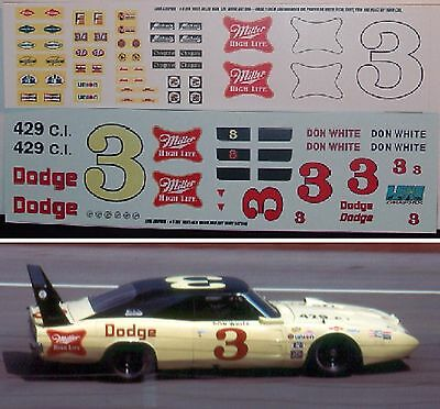Don White #3 1969 MILLER Dodge Daytona 1/24th scale decals LoboGraphix