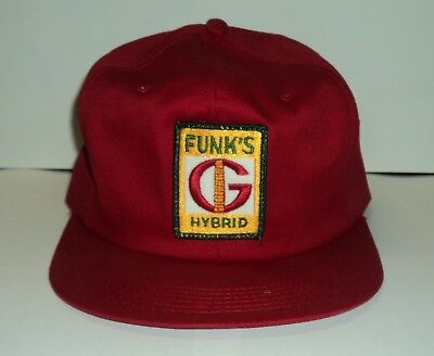 Vintage - Red Farm Cap / Hat FUNK'S G HYBRID - Embroidered - Snapback - RARE