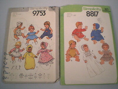 "Lot 2 Vintage Doll Clothes Patterns ~Small 13""-14"" Simplicity ~Wet & Care +"