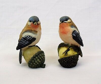 """2 Finch Figurines Birds perched on tree nuts 4 3/8"""" resin home accents nature"""
