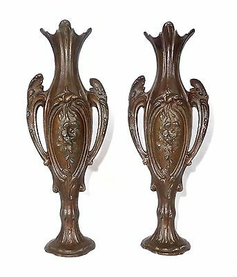 Stunning ART NOUVEAU HEAVY BRONZE IRON MANTEL VASES CANDLE HOLDERS PAIR