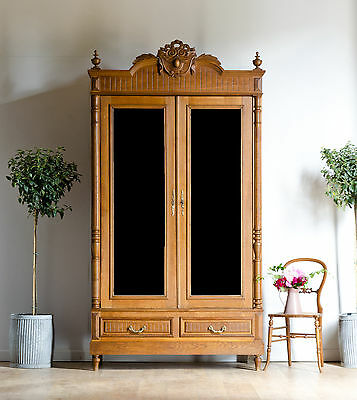 Antique 19C French Knockdown Walnut Double Wardrobe Armoire with Mirrored Doors