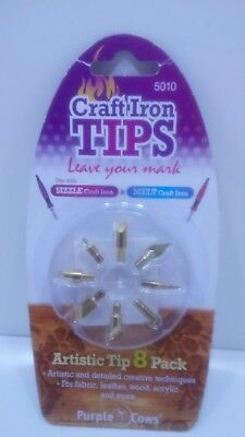 Purple Cows Craft Iron Tips- 5010  Artistic 8 Pack -NEW use with Sizzle & Melt