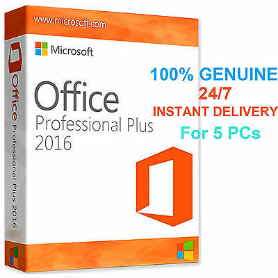 5 PC Microsoft Office 2016 Pro Professional Plus Original License Key 32/64 Bit