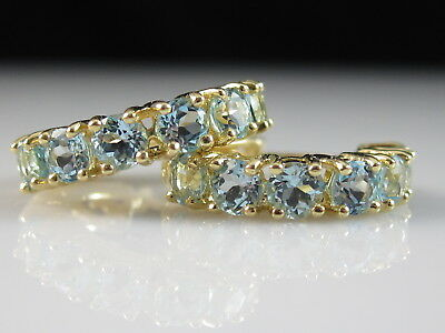 14K Hoop Earrings Blue Topaz 1.20ctw Fine Jewelry Dangle Drop Yellow Gold