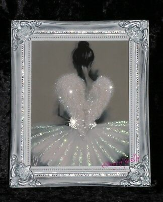 Angel Ballerina Glitter picture, Silver Shabby Chic Framed or Canvas! Any Size